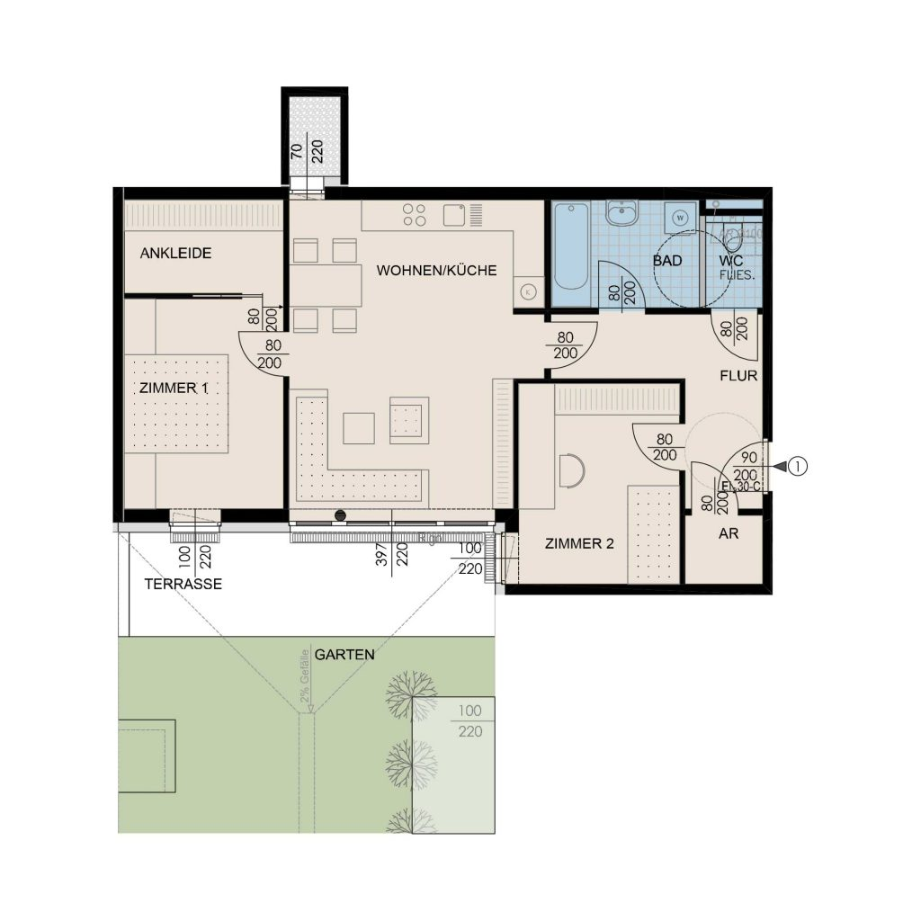 Wohnungsplan Haus 1 / Top 01