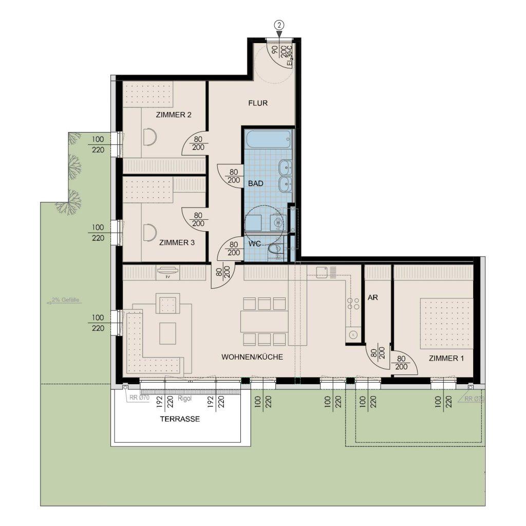 Wohnungsplan Haus 1 / Top 02