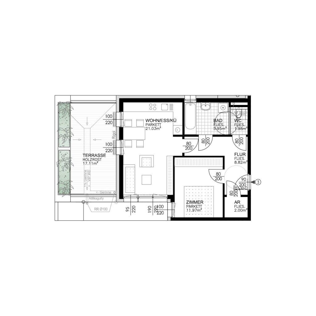 Wohnungsplan Haus 1 / Top 03