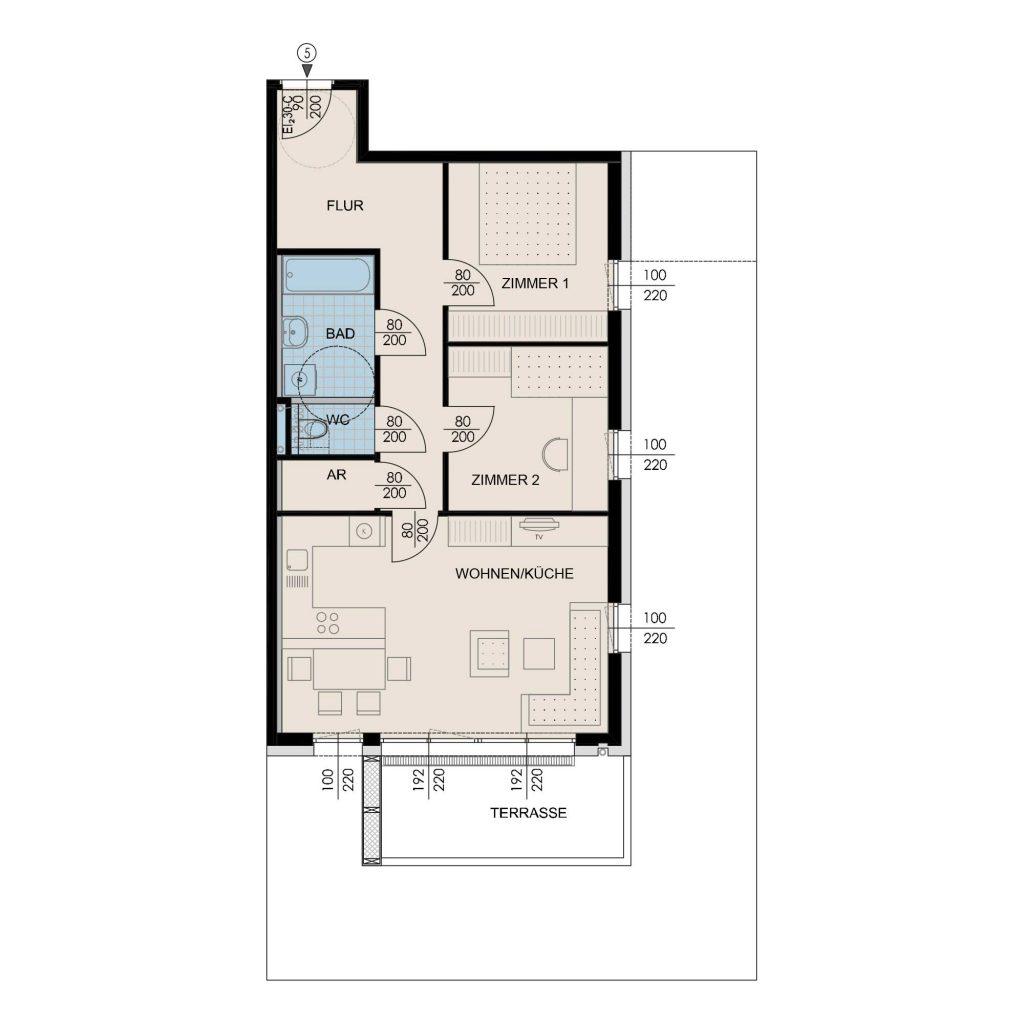Wohnungsplan Haus 1 / Top 05