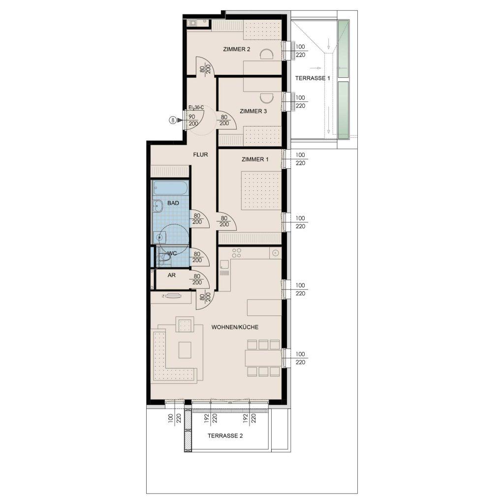 Wohnungsplan Haus 1 / Top 08