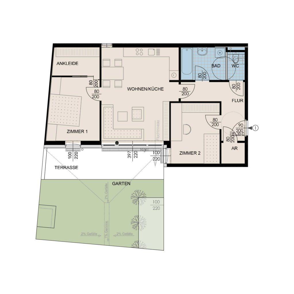 Wohnungsplan Haus 2 / Top 01