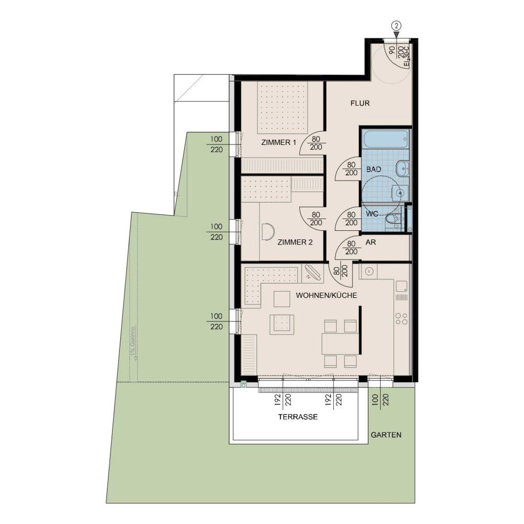 Wohnungsplan Haus 2 / Top 02