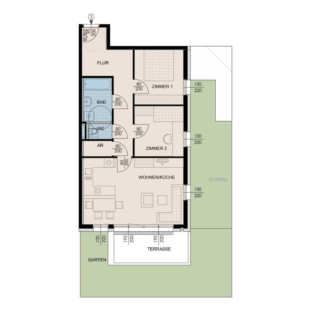Wohnungsplan Haus 2 / Top 03