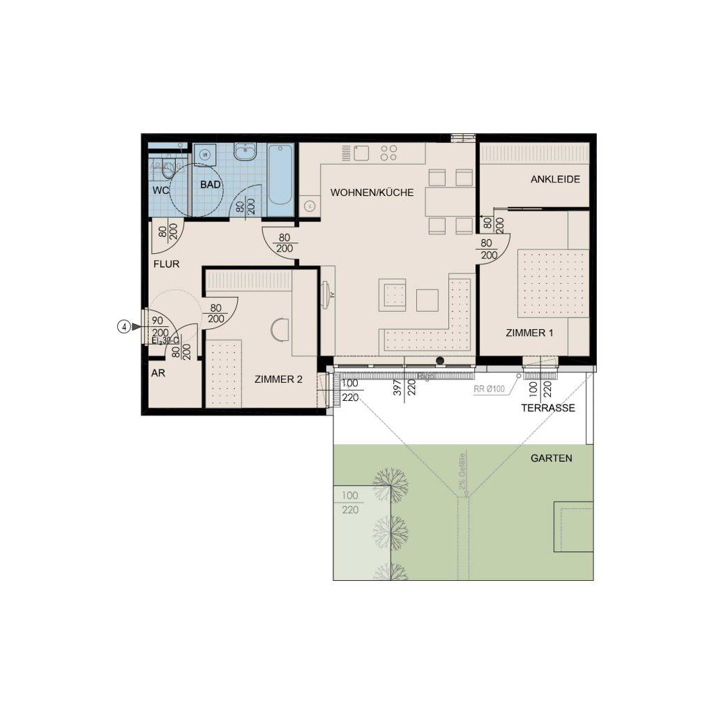 Wohnungsplan Haus 2 / Top 04