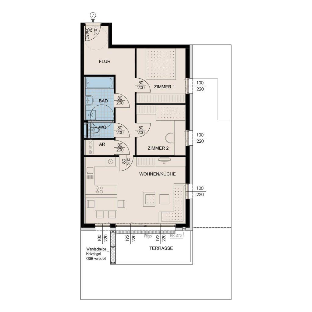 Wohnungsplan Haus 2 / Top 07