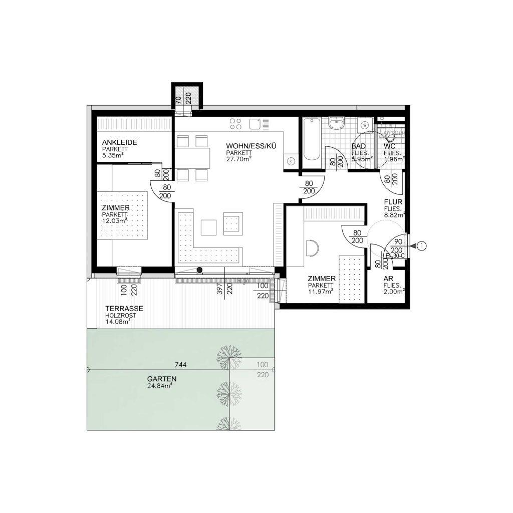 Wohnungsplan Haus 3 / Top 01