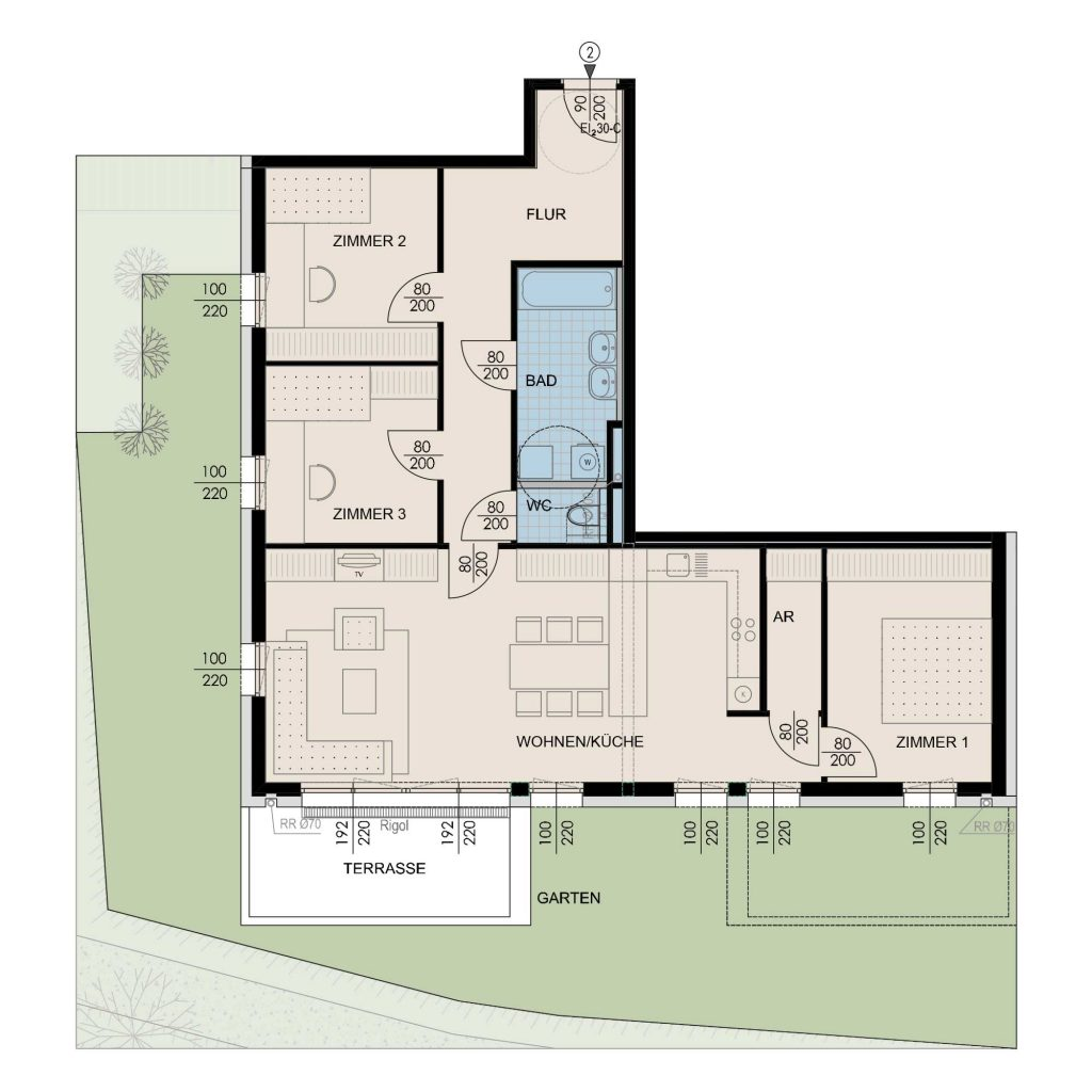 Wohnungsplan Haus 3 / Top 02