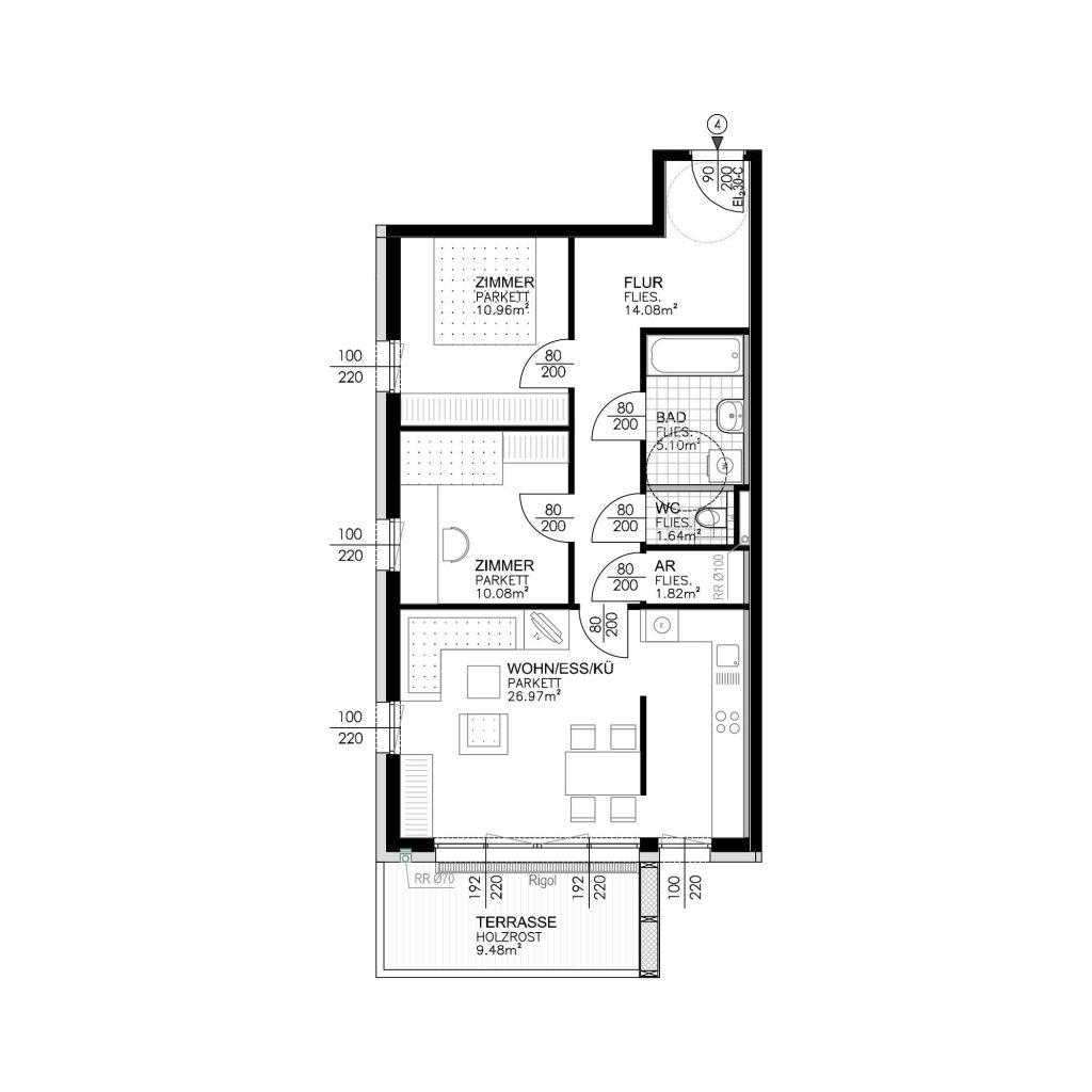 Wohnungsplan Haus 3 / Top 04