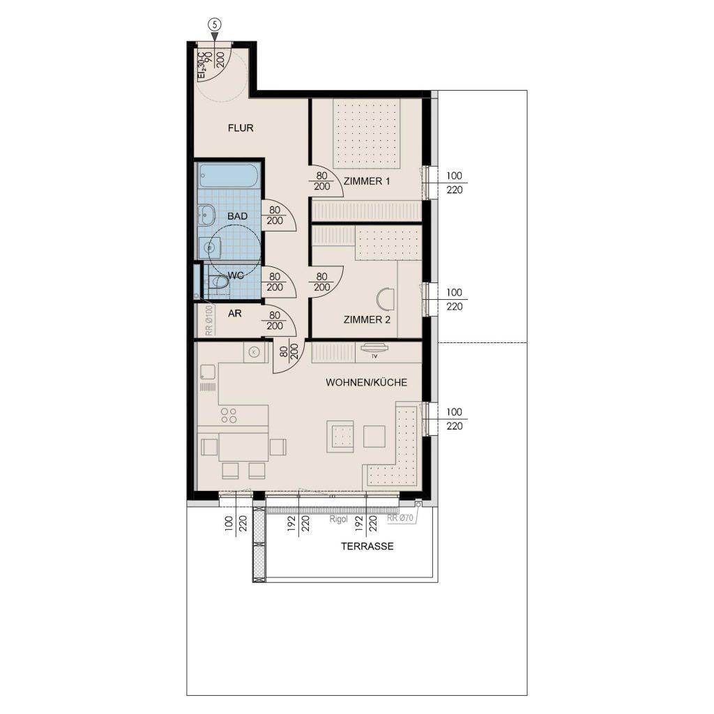 Wohnungsplan Haus 3 / Top 05