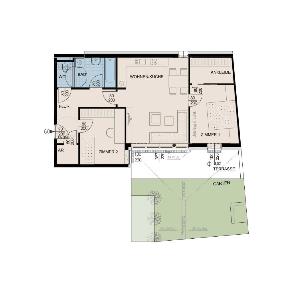 Wohnungsplan Haus 3 / Top 06