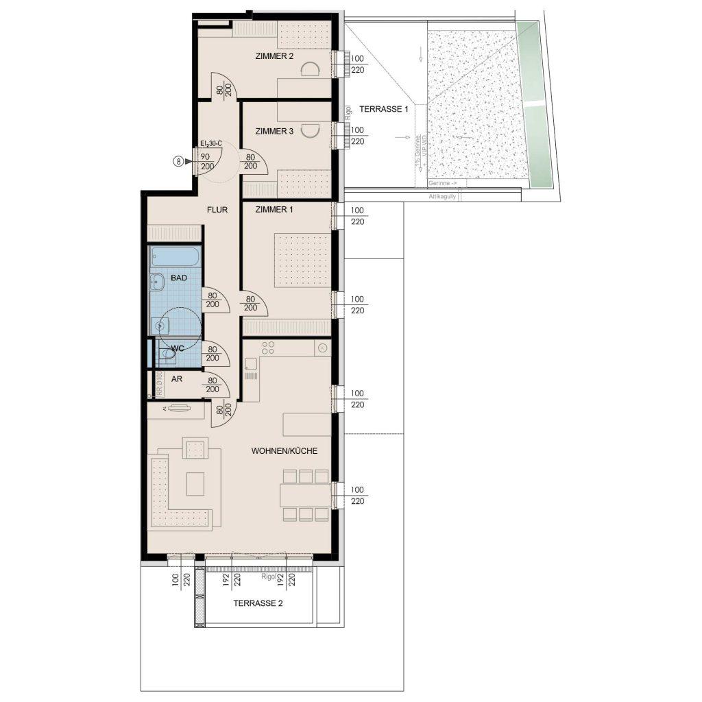 Wohnungsplan Haus 3 / Top 08