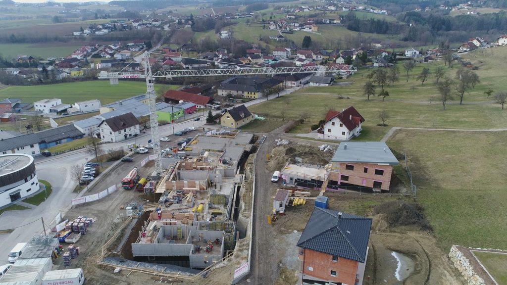 Luftaufnahme Baufortschritt Februar - Eigentumswohnungen Unterweitersdorf